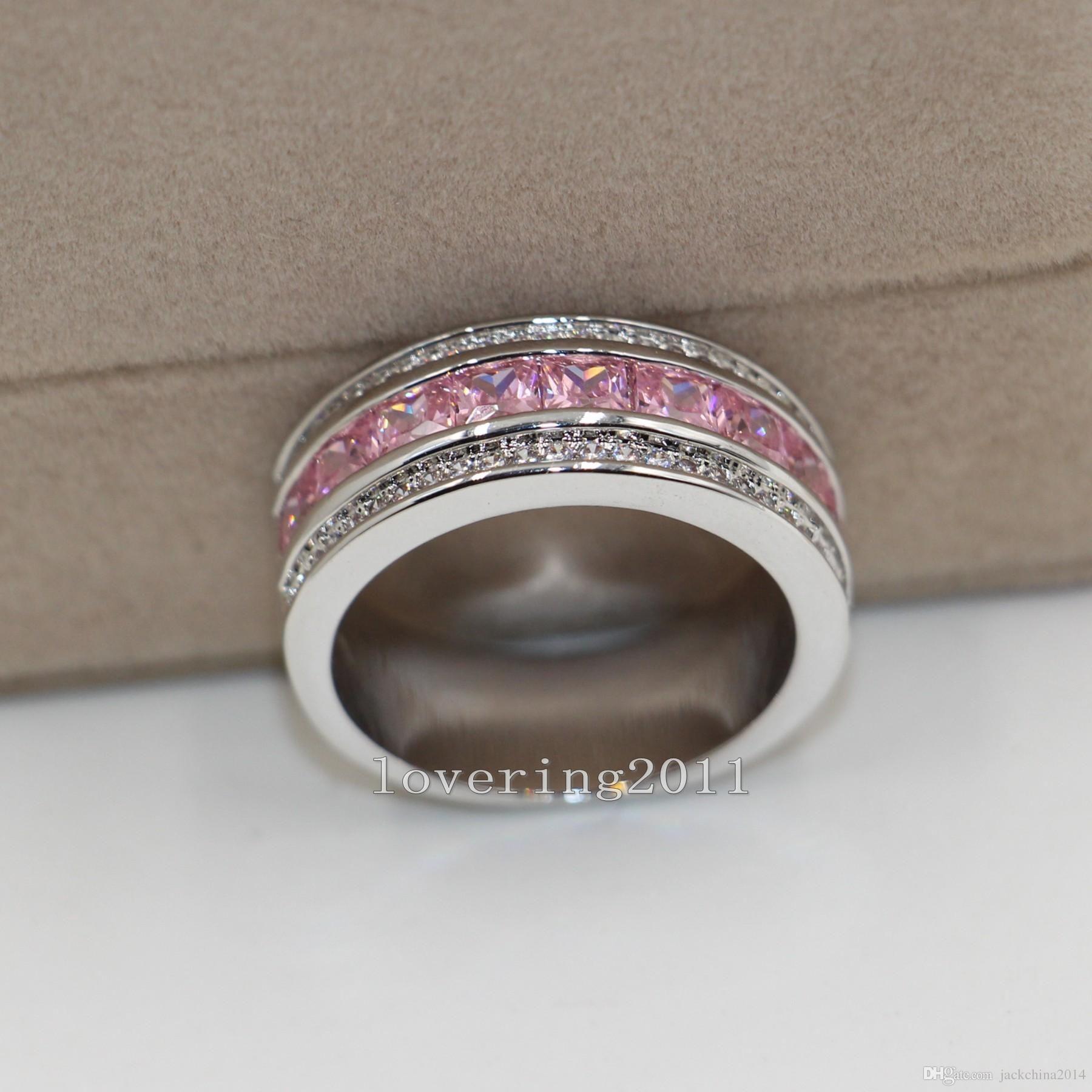 Princesa CUT Luxo Agradável Rosa Safira Diamonique 10KT Branco de Ouro Preenchido Mulheres Simulado Casamento Noivado de Diamante pandora presente Anel Sz5-11