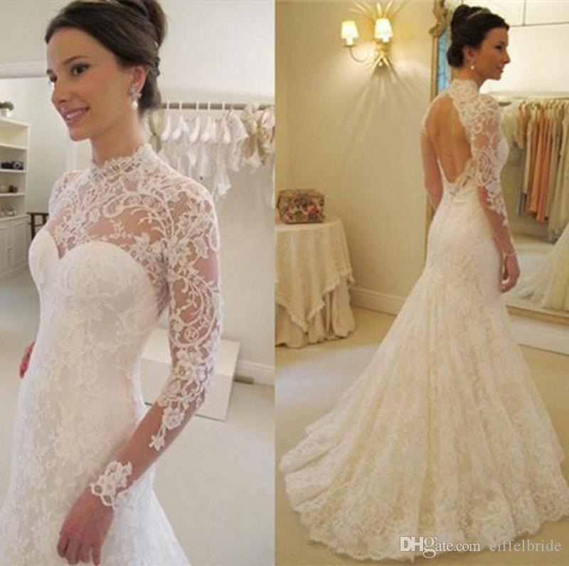 Trendy 2017 High Neck Lace Wedding Dress Fit And Flare Backless Long ...
