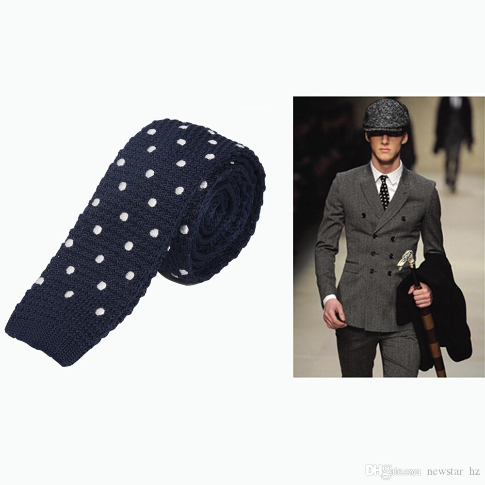 New Style Men Knitted Leisure Necktie Polka Dots Classic Business Skinny Tie Wedding Party Suit Dress Decor Men's Ties Stripes Neckties Gift
