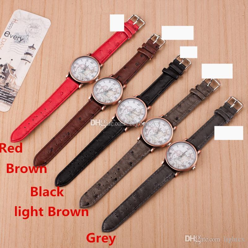 Горячие продажи часы старинные Кожаный ремешок часы карта мира часы унисекс кварцевые часы популярный дизайн Мужчины Женщины наручные часы