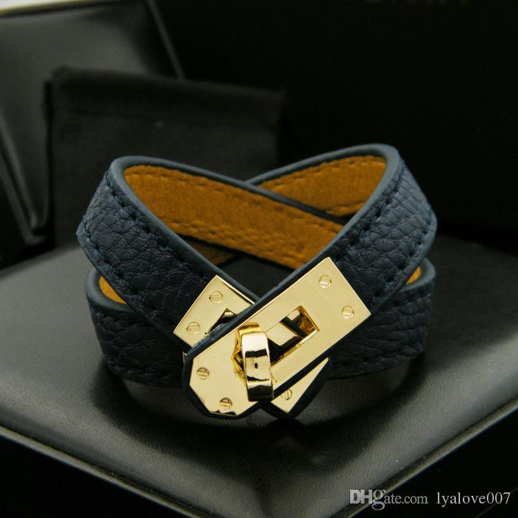 Vintage de múltiples capas de cuero de la PU H pulseras para las mujeres del manguito de los brazaletes de los hombres de oro pulsera de la hebilla Pulseras Hombre Accesorios joyería masculina