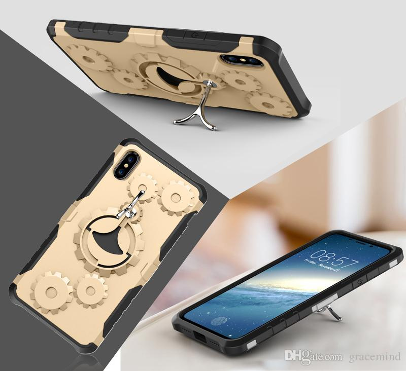 Gear Armor Stand Hybrid Case For Iphone X 5S 6S 8 Plus Phone Cover With Arm Band Sport Bag