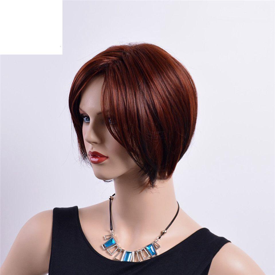 Kısa Düz Bayan Peruk Bordo Mix Renk Ombre Kahverengi Sentetik Peruk Doğal Bobo Saç Patlama ile