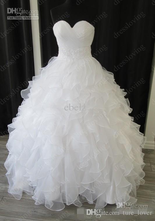 2019 Custom Made Elegante Níveis Real Amostra Branco Organza Querida Baile Capela Império Ruffles Frisado Vestidos de Casamento