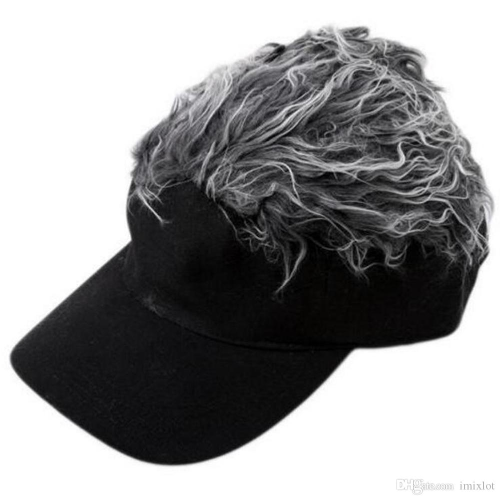 Hot New Fashion Novelty Baseball Cap Fake Flair Hair Sun Visor Hats Men s  Women s Toupee Wig Funny Hair Loss Cool Gifts ba985a2f93c5