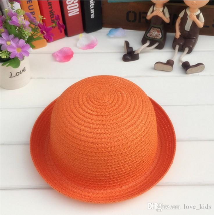 Boys girls summer Straw Hats candy colors Sun Hat Solid can diy Children cap you like styles 50cm to 52cm for kids