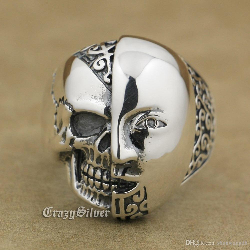 925 Sterling Silver Half Face Half Skull Mens Biker Rocker Punk Ring 9W021 US Size 7 ~ 15