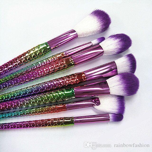 / pinceaux de maquillage ensemble professionnel poudre poudre pour les yeux fard à paupières outils cosmétiques arc en ciel coloré goutte livraison gratuite