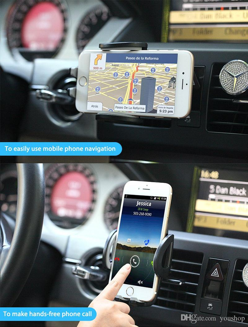 Portable Adjustable Car Air Vent Mount Holder for 3.5'' to 6.3'' Mobile Cell Phones Smartphones