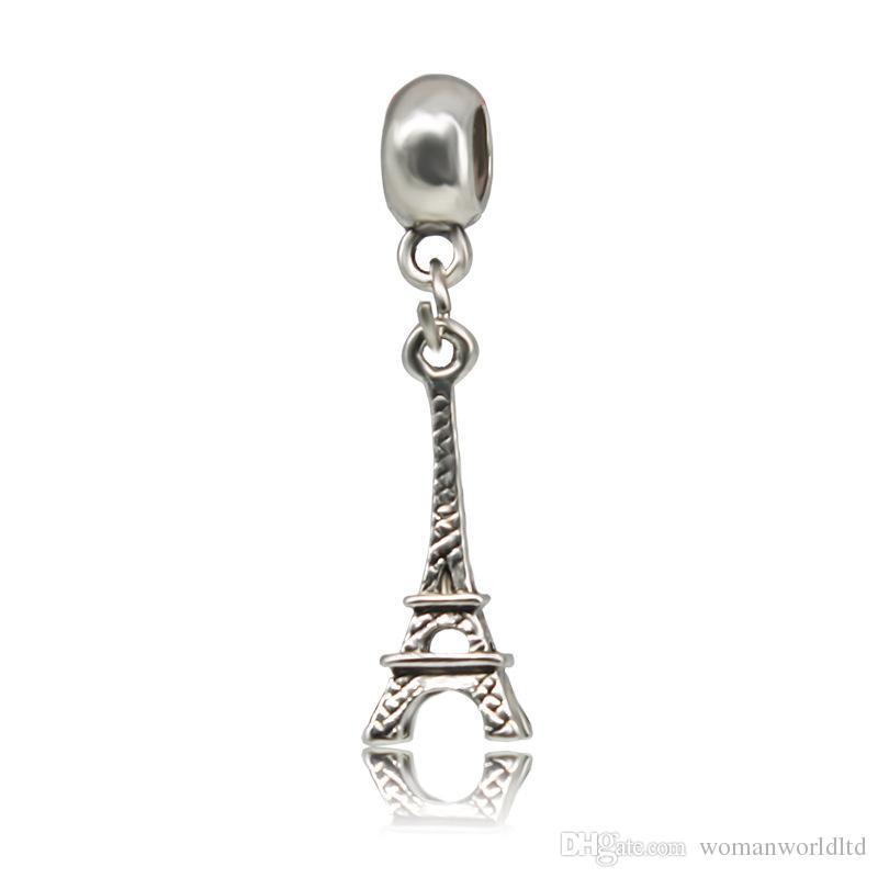Torre de hierro chapado en plata colgante Gran Agujero Perlas Sueltas Pandora DIY Joyería Pulsera Colgante Collar de Pulsera de Cuentas Europea accesorios