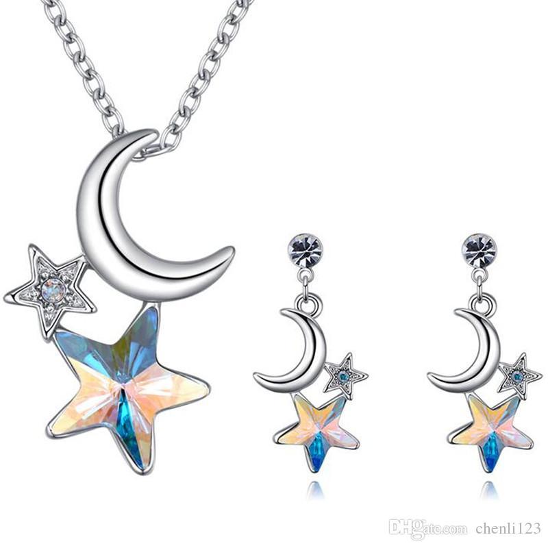 65759dd7830d Conjuntos de joyas de moda de cristal de Swarovski Elements Estrella y luna  collar pendientes mujeres accesorios regalo de aniversario 26344