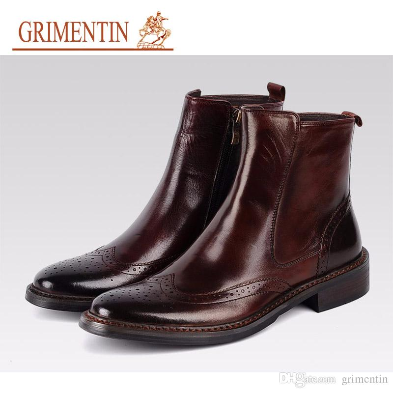 f54780c85acd GRIMENTIN Hot Sale Dress Mens Boots Genuine Leather High Quality Italian  Classic Wingtip Men Ankle Boots For Men Shoes Oxfords HM26 Canada 2019 From  ...