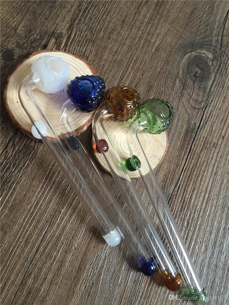 Tubo di bruciatore di olio di vetro spesso a buon mercato Tubi di fragola tubo di mano di tabacco tubo di vetro spesso tubi di fumo trasparenti erba pipesi tubo di mano