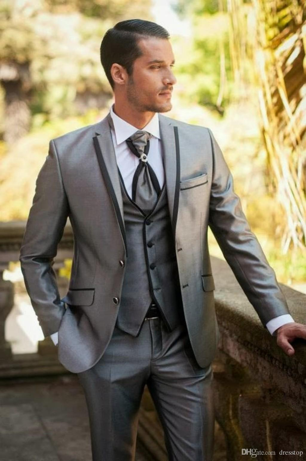 Classy Silver Wedding Mens Suits Slim Fit Bridegroom Tuxedos For ...