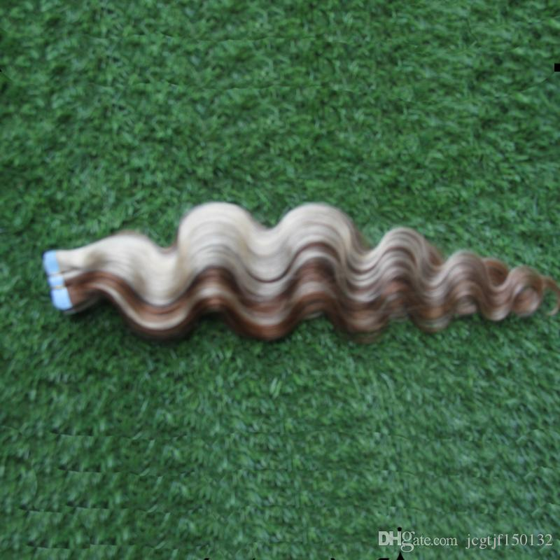 Malaysian Body Wave Tape In Hair Extensions Remy 40 piec Blonde Tape Hair Extensions 100g Adhesive Tape Hair Skin Weft #8P/60 Two Tone
