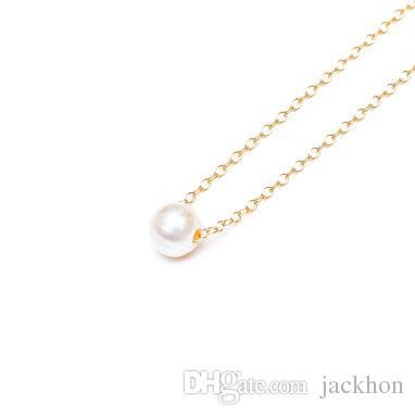 10 pçs- n133 simples branco ou marfim pérolas colar cute círculo redondo colares de pérolas com corrente de prata de ouro para festa de casamento mulheres