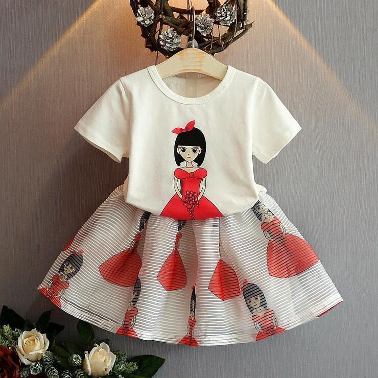 9456f2bc633f 2019 Cute Baby Girls Summer Cartoon Beauty Set Children Clothes Short Sleeve  Beauty T Shirt And Stripes Ruffles Short Skirts Kids Clothing Sets From ...