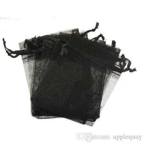 Takı Ekran Torbalar Ambalaj Boncuk El Sanatları Hediye Mücevher Çanta Gösterisi İpli Lucency Dikdörtgen Organze Şeker Siyah Mavi 7 * 9 cm 300 adet