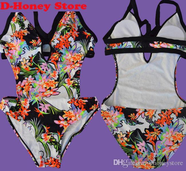 Blooming Jelly Print Badeanzug Strappy Vintage Body Sexy aushöhlen Bademode 2016 Badeanzüge ein Stück