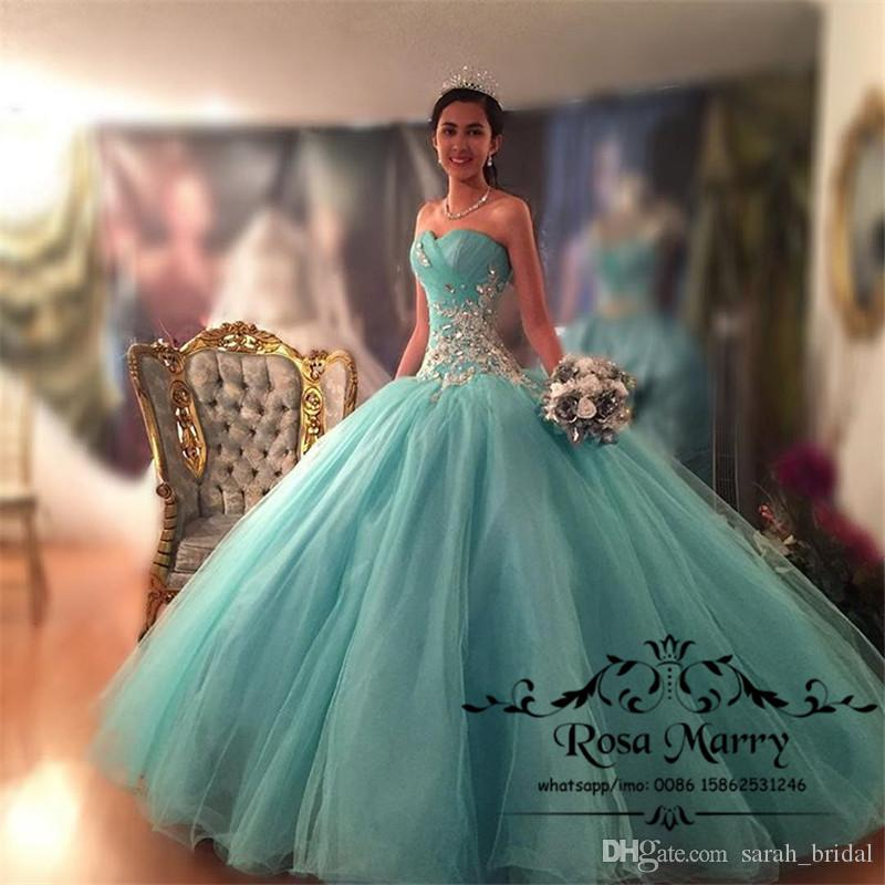 Mint Green Ball Gown Crystals Quinceanera Dresses 2018 Corset