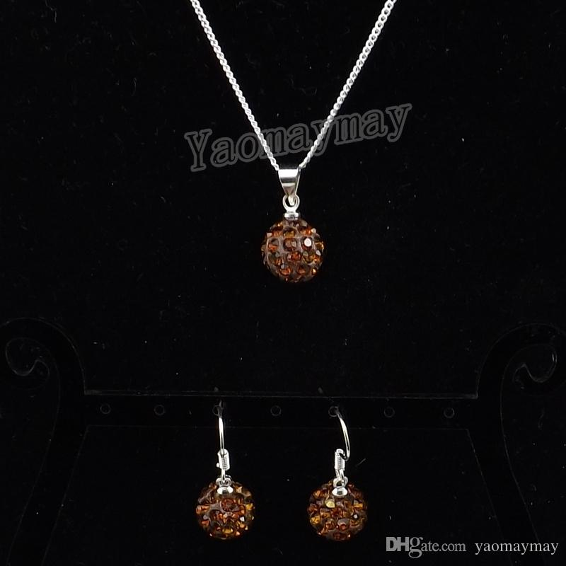 New Arrive Brown Disco Ball Pendant Earrings And Necklace For Girls Rhinestone Jewellery Set Wholesale