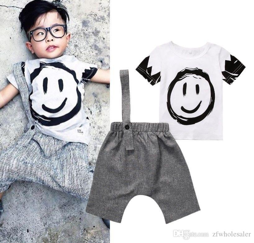 22e2cc0fc2e73 `Baby Boys Clothes Kid Clothing Set Toddler Outfit Children Summer Suit  Grey Infant Boy Clothing 2PCS Short Sleeve Shirt Pants Baby Boutique