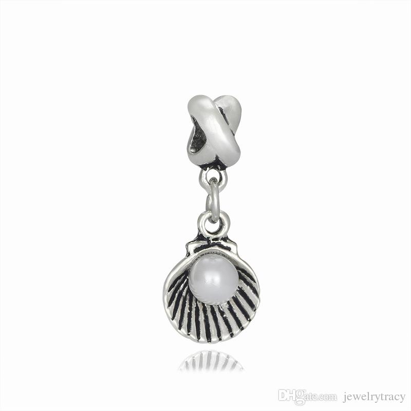 Dangle Charm Fits European Pandora Jewelry Charm Bracelets Pearl conch shape pendant diy accessories lucky bead large hole pendant beads