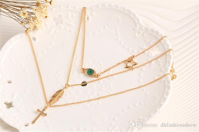 Мода крест ожерелье старинные перо глаз Звезда ожерелье женщин воротник многоэтажный цепи колье ожерелье заявление ювелирные изделия лето