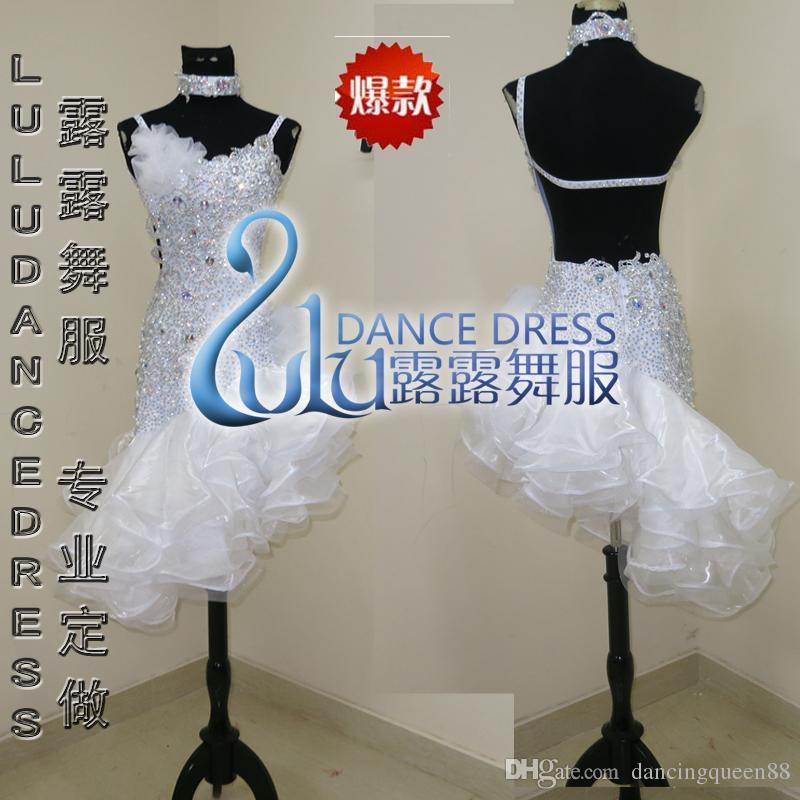 커스텀 라틴 댄스 드레스 라인 스톤 의상 무용 무대 의상 ChaCha Dancing Dress for Women 화이트 댄스 의상 드레스