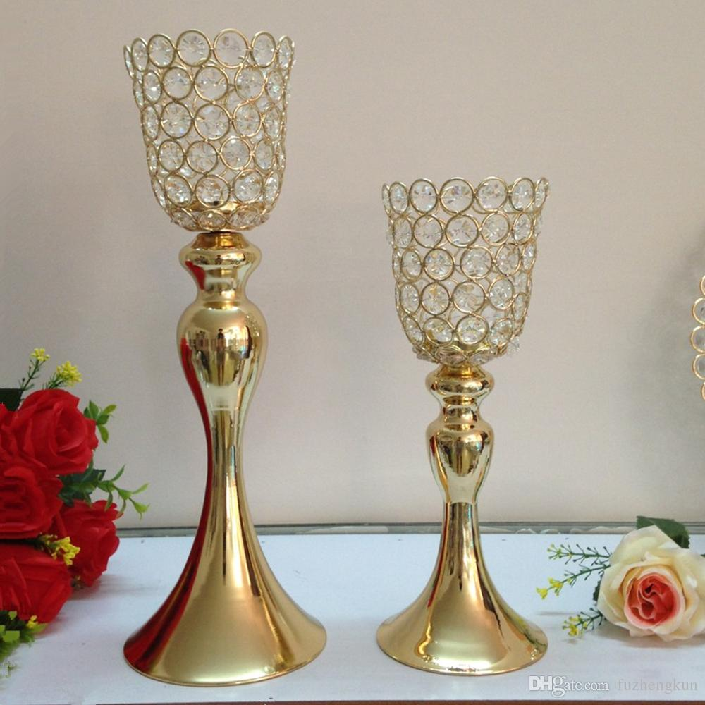 Classic Horn shape Crystals Metal Candle Holders Wedding Home Party Candelabra/Centerpiece Decoration candlestick
