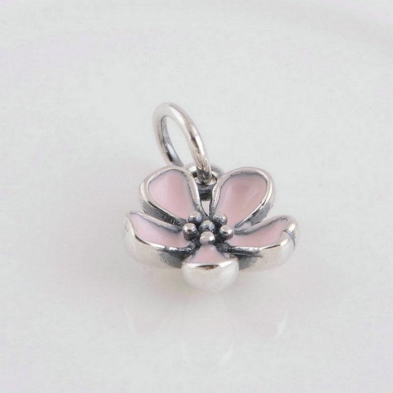 Antike Silber Kirschblüten-Charms Anhänger S925 Sterlingsilber passt DIY-Armband und Halskette 390347DE40