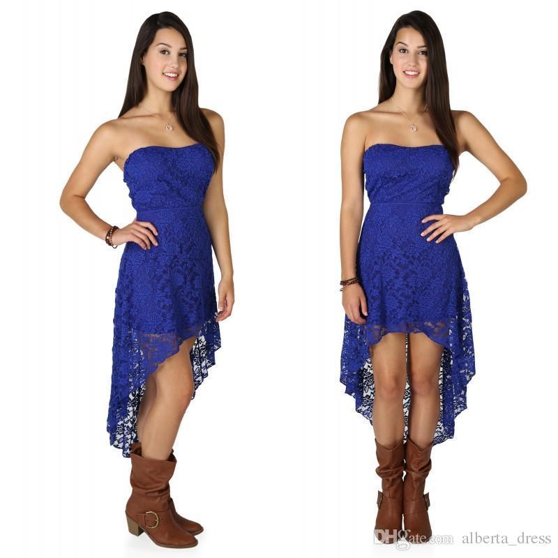 Günstige hochwertige Königsblau High Low Prom Kleider Vintage Sexy Black Lace Günstige trägerlosen Brautjungfer Kleid für Country Party