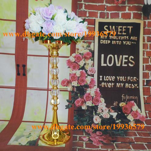 Wedding Vases For Sale: 24Tall Metal Gold Flower Vase With Shiny Crystal Ball For