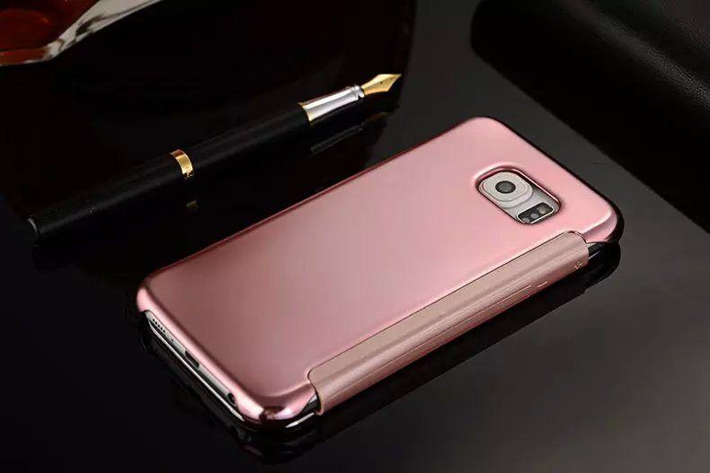 Для Samsung Galaxy S7 Edge S6 Edge Plus S5 Luxury Smart Флип Тонкий Вид Гальваника Зеркало Жесткий Прозрачный Чехол Крышка
