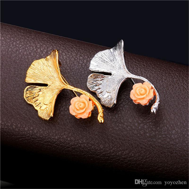 Новая новинка Gingko лист брошь для женщин платины/18K реального позолоченный цветок отворотом Pin брошь