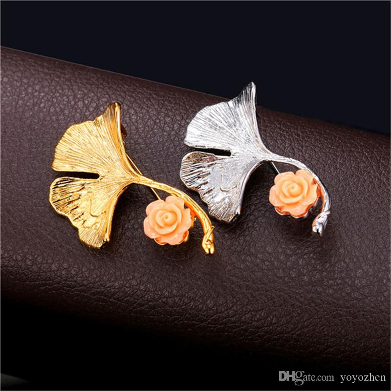 New Novelty Gingko Leaf Brooch For Women Platinum/18K Real Gold Plated Flower Lapel Pin Broches