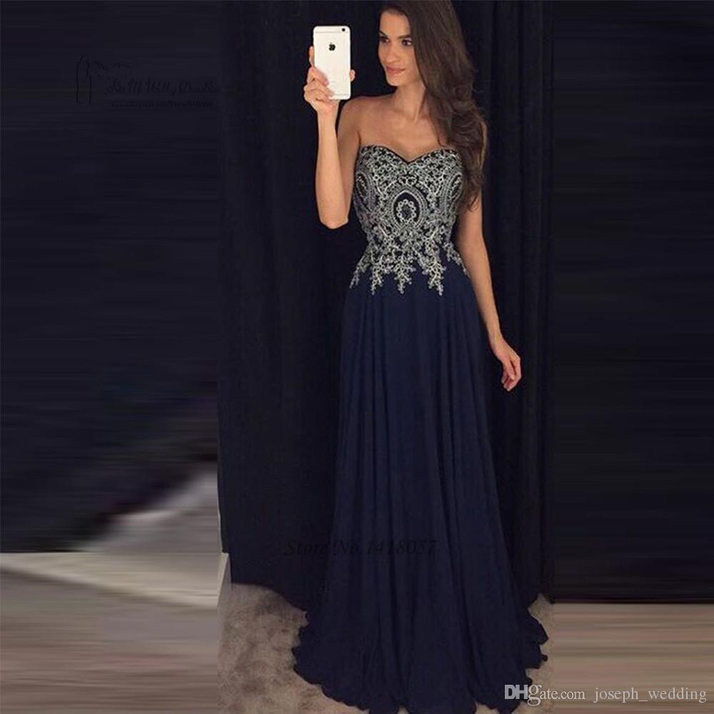 Navy Blue Prom Dresses 2019 Cheap Silver Lace Vestidos Do Baile De ...