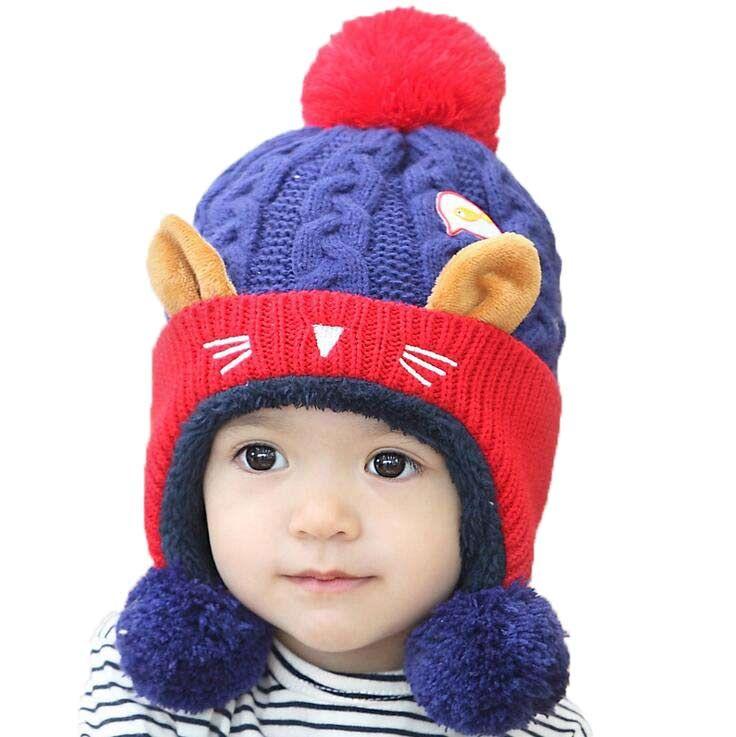 659df458db7 Unisex Baby Winter Warm Cat Bomber Hats Earmuffs Caps Children Kids ...