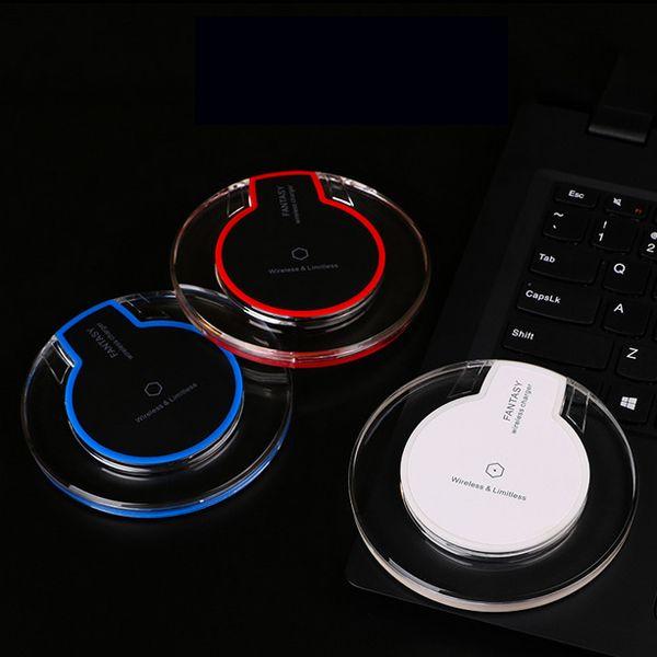 Qi chargeur sans fil pad pour Samsung S6 bord s7 bord iphone 6 6s 6splus plaque de charge rapide mini pad avec paquet de détail livraison gratuite