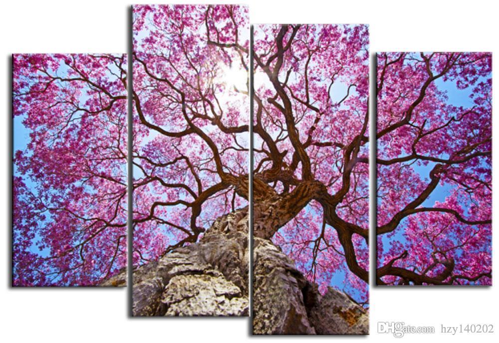Satın Al Soyut Tuval Boyama Sanatı Pembe Pretty Kiraz Ağacı üzerinde