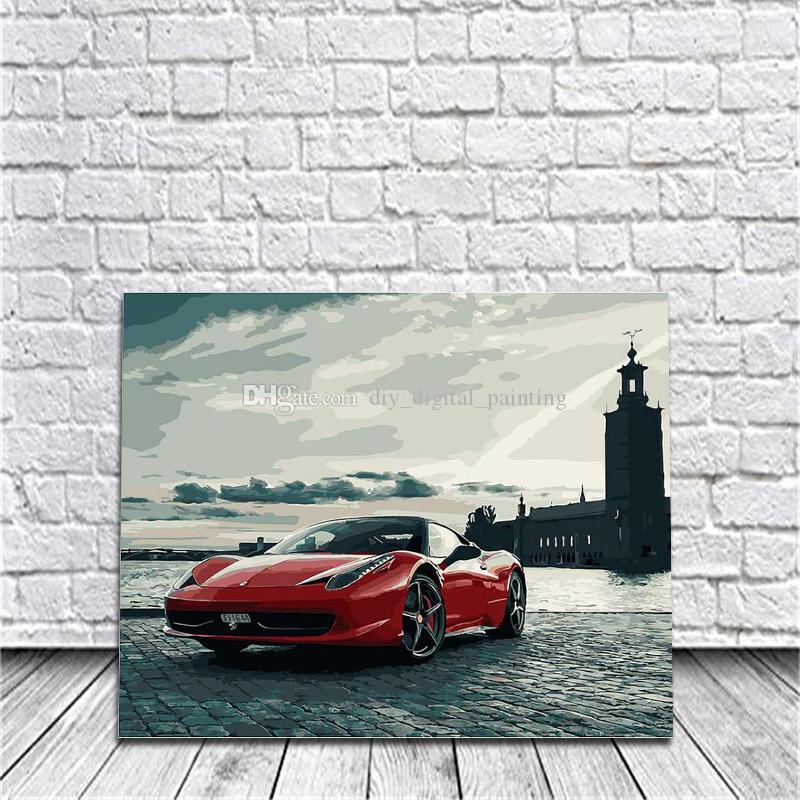 2018 Framed Sports Car Diy Painting By Numbers Drawing By Painting ...