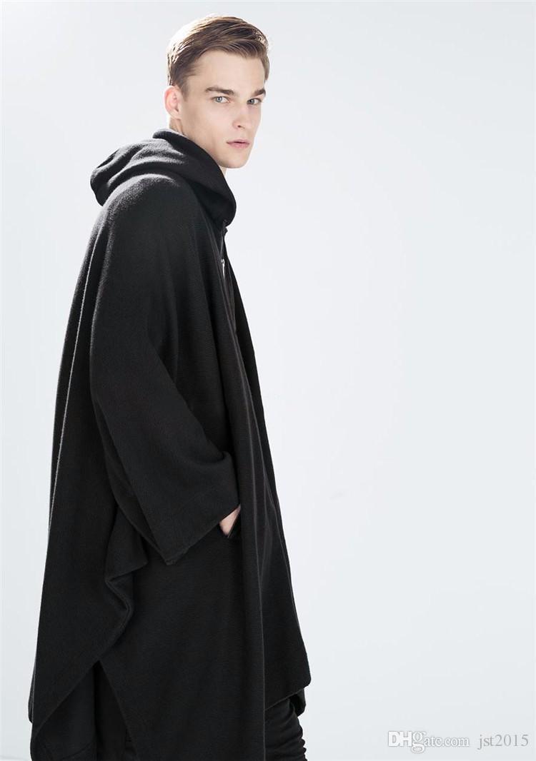 2016 Harajuku Roupas Gótico Estilo Britânico Moda Mens Capa De Lã Capa Longo Preto Com Capuz Trench Coat Homens Blusão Casaco