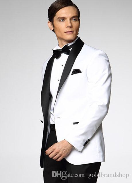 Top Selling White With Black Satin Lapel Groom Tuxedos More Style Choose Groomsmen Men Wedding Suits Jacket+Pants+Bow Tie