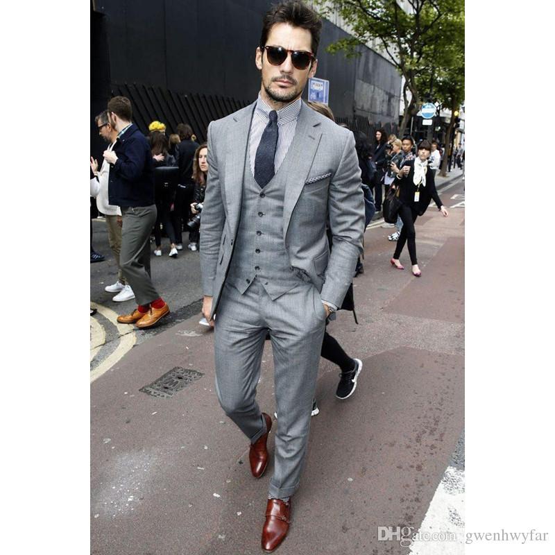 Acquista Moda Uomo Casual Suit Set Slim Fit 2018 Giacca + Pantaloni + Gilet Abiti  Uomo Su Misura La Cerimonia Nuziale Prom Business Groom Best Man Blazer ... 58b51b0ef93