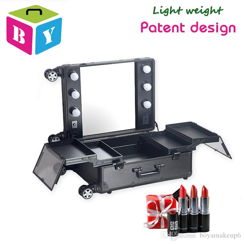 Free Shipping Aluminum Frame Makeup Station Cosmetic Vanity Beauty Case With Light Bulbs Mirror Wheels With Or Without 4 Legs Both Available