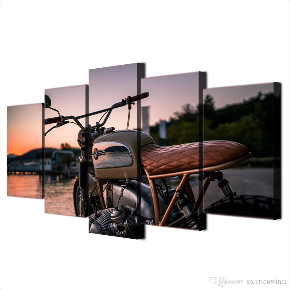Framed HD Printed Custom Vintage Motorcycle Wall Art Poster Pictures Room Decoration Artworks Canvas Modern Oil Painting