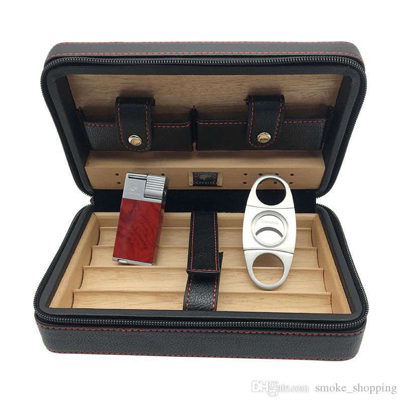COHIBA Black Leather Cedar Lined Cigar Case Cigarette Humidor With Cutter & Lighter Cugar Scissor For Smoking