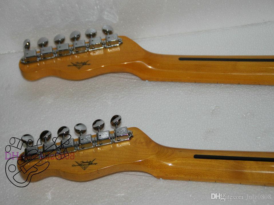 Özel Mağazalar Krem Çift Boyun Elektro Gitar Maple klavye ücretsiz kargo