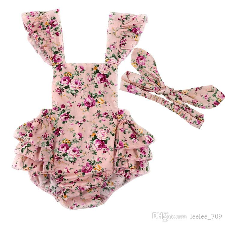 2019 Vintage Summer Woven Floral Baby Bubble Romper