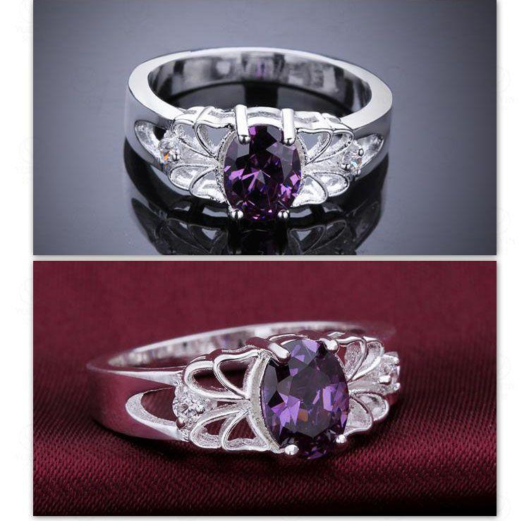 Anelli le donne Anelli le fedi nuziali Cubic Zirconia Gioielli Ametista Crystal Purple Gemstone Anelli Placcatura in argento Hot Nuovo arrivo